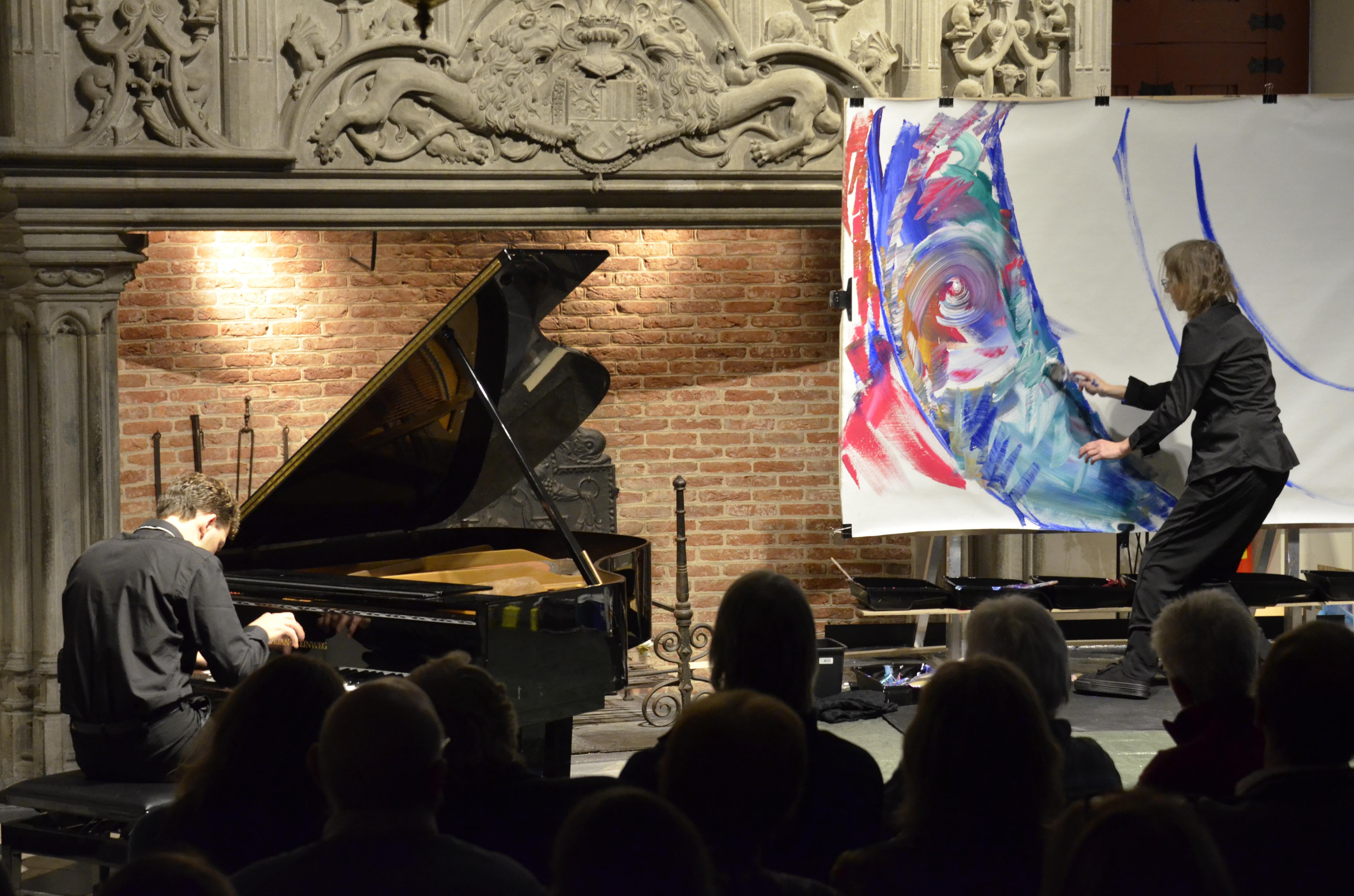 MusicPainting Live with pianist Reinis Zarins and painter Maryleen Schiltkamp at the Markiezenhof, Bergen op Zoom (Netherlands) November 2017